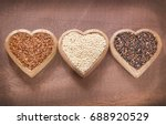 Stock photo seeds of white red and black quinoa chenopodium quinoa 688920529