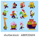 vector flat collection of happy ... | Shutterstock .eps vector #688920604
