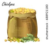 sack of chickpeas. hand drawn... | Shutterstock .eps vector #688921180