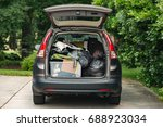 suv packed quickly with... | Shutterstock . vector #688923034