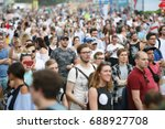 moscow 9 july 2017 music fans... | Shutterstock . vector #688927708