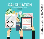 calculation concept.... | Shutterstock .eps vector #688929838