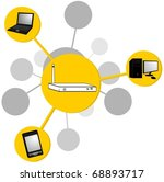 drawing router transmitting... | Shutterstock .eps vector #68893717
