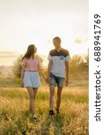 young loving couple walking in... | Shutterstock . vector #688941769