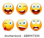 smiley with blue eyes emoticon... | Shutterstock .eps vector #688947334