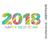 2018 happy new year greeting... | Shutterstock .eps vector #688949698