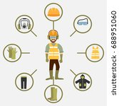 worker health and safety vector.... | Shutterstock .eps vector #688951060