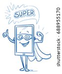 happy cartoon smart phone... | Shutterstock .eps vector #688955170