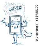 happy cartoon smart phone... | Shutterstock .eps vector #688955170
