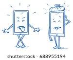 unhappy cartoon smart phone... | Shutterstock .eps vector #688955194