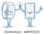 happy cartoon smart watch and... | Shutterstock .eps vector #688955224