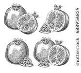 set fresh garnet. hand drawn... | Shutterstock .eps vector #688956829
