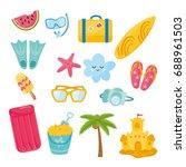 vector set of summer elements.... | Shutterstock .eps vector #688961503