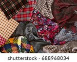 many fabrics of different types.... | Shutterstock . vector #688968034