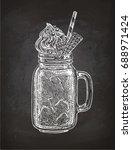 milkshake in mason jar. chalk... | Shutterstock .eps vector #688971424