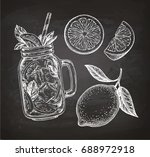 lemon set. chalk sketch on... | Shutterstock .eps vector #688972918