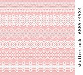 set lace patterned ribbons.... | Shutterstock .eps vector #688974934