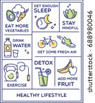 healthy lifestyle poster ... | Shutterstock .eps vector #688980046
