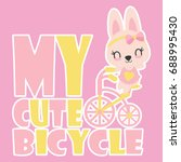 Stock vector cute baby bunny rides a bicycle vector cartoon illustration for kid t shirt design postcard and 688995430