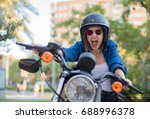young woman shouting on a... | Shutterstock . vector #688996378