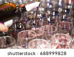a lot of glasses with alcohol ... | Shutterstock . vector #688999828