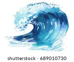 sea wave. abstract watercolor... | Shutterstock . vector #689010730