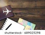 overhead view of traveler's...   Shutterstock . vector #689025298