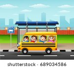 happy children riding by school ... | Shutterstock . vector #689034586