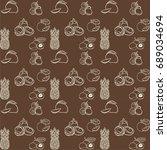 tropical fruits vector pattern  ...   Shutterstock .eps vector #689034694