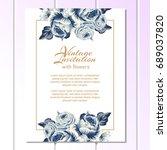 vintage delicate invitation... | Shutterstock . vector #689037820