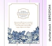 invitation with floral... | Shutterstock . vector #689039344
