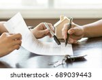 hand of broker showing to... | Shutterstock . vector #689039443