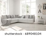 idea of white minimalist room... | Shutterstock . vector #689048104