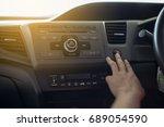 hand press emergency button in...   Shutterstock . vector #689054590
