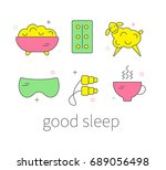 set of icons treatment of... | Shutterstock .eps vector #689056498