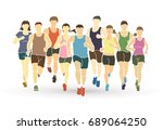 marathon runners  group of... | Shutterstock .eps vector #689064250