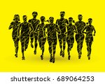 marathon runners  group of... | Shutterstock .eps vector #689064253