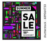 summer sale colorful style...   Shutterstock .eps vector #689064733