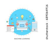 machine learning  artificial... | Shutterstock .eps vector #689064916