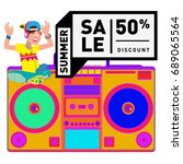 summer sale colorful style... | Shutterstock .eps vector #689065564