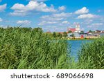 view on trinity catholic church ... | Shutterstock . vector #689066698
