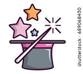 magic hat with magic wand icon. ... | Shutterstock .eps vector #689068450