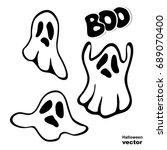 ghost. lettering boo. a set of... | Shutterstock .eps vector #689070400