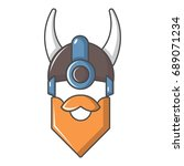 viking in horned helmet icon.... | Shutterstock .eps vector #689071234