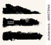 vector set of black brush... | Shutterstock .eps vector #689073964