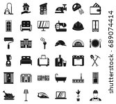 comfortable place icons set.... | Shutterstock .eps vector #689074414