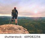 man hiker wearing supportive... | Shutterstock . vector #689082256