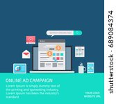 on line advertising campaign ... | Shutterstock .eps vector #689084374