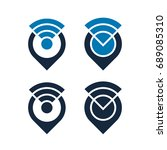 design of wifi icons with map... | Shutterstock .eps vector #689085310