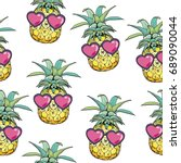pineapple with glasses pattern  ... | Shutterstock .eps vector #689090044